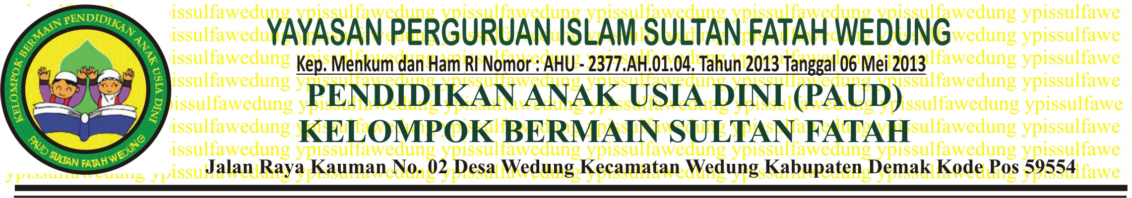 Kop Surat Paud Perguruan Islam Sultan Fatah Wedung